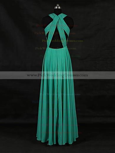 Chiffon V-neck Floor-length A-line with Ruffles Bridesmaid Dresses #PWD01013124