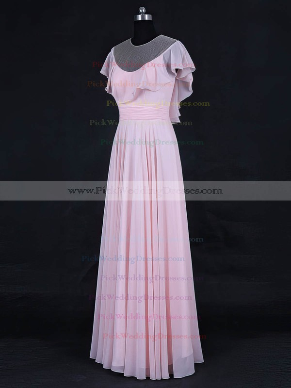 Tulle|Chiffon Scoop Neck Floor-length A-line with Ruffles Bridesmaid Dresses #PWD01013125