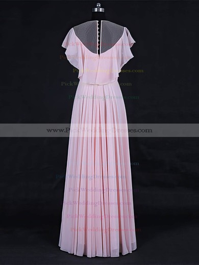 Tulle Chiffon Scoop Neck Floor-length A-line with Ruffles Bridesmaid Dresses #PWD01013125