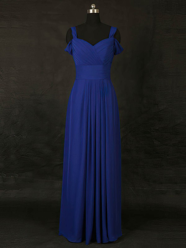 Chiffon V-neck Floor-length A-line with Ruffles Bridesmaid Dresses #PWD01013127
