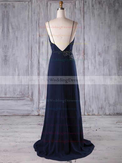 Chiffon V-neck Sweep Train A-line with Appliques Lace Bridesmaid Dresses #PWD01013173
