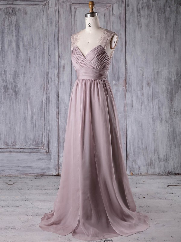 Lace|Chiffon V-neck Sweep Train A-line with Ruffles Bridesmaid Dresses #PWD01013174