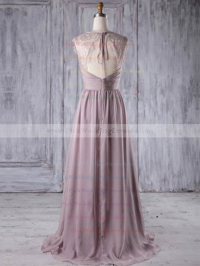 Lace Chiffon V-neck Sweep Train A-line with Ruffles Bridesmaid Dresses #PWD01013174