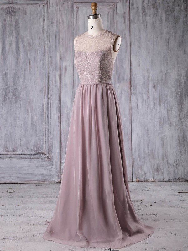Lace|Chiffon Scoop Neck Sweep Train A-line with Sashes / Ribbons Bridesmaid Dresses #PWD01013175