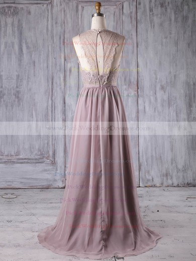 Lace Chiffon Scoop Neck Sweep Train A-line with Sashes / Ribbons Bridesmaid Dresses #PWD01013175