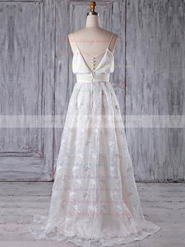 Lace V-neck Sweep Train A-line with Sashes / Ribbons Bridesmaid Dresses #PWD01013176