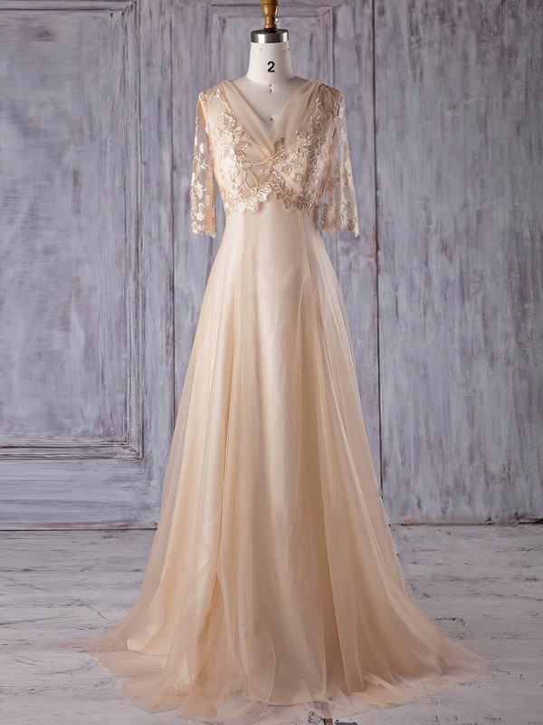 Tulle V-neck Sweep Train A-line with Appliques Lace Bridesmaid Dresses #PWD01013178
