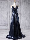 Sequined Halter Sweep Train A-line with Sashes / Ribbons Bridesmaid Dresses #PWD01013179