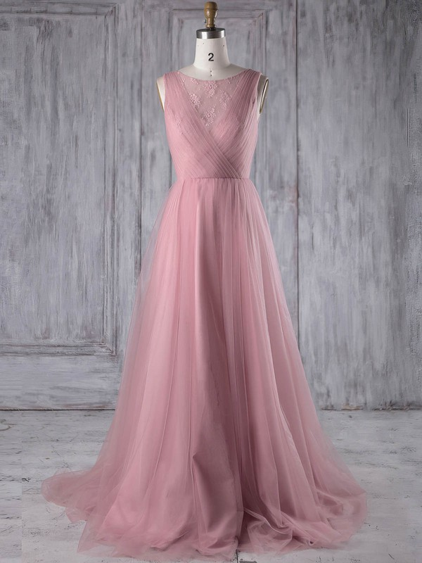 Tulle Scoop Neck Sweep Train A-line with Lace Bridesmaid Dresses #PWD01013180