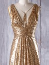 Sequined V-neck Sweep Train A-line with Ruffles Bridesmaid Dresses #PWD01013181