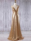 Sequined V-neck Sweep Train Empire with Ruffles Bridesmaid Dresses #PWD01013182