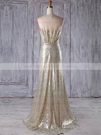 Tulle Sequined V-neck Sweep Train A-line with Sequins Bridesmaid Dresses #PWD01013183