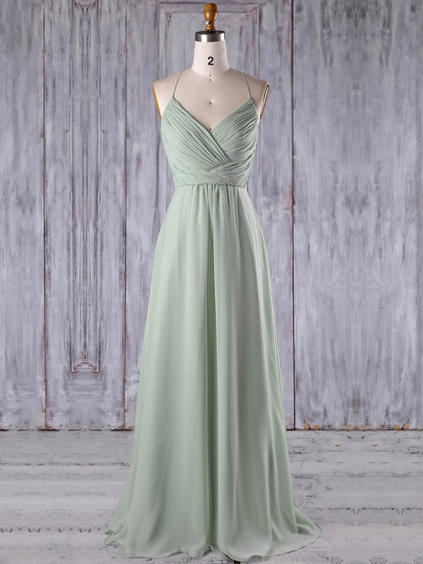 Chiffon|Tulle V-neck Floor-length A-line with Appliques Lace Bridesmaid Dresses #PWD01013184