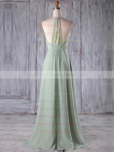 Chiffon Tulle V-neck Floor-length A-line with Appliques Lace Bridesmaid Dresses #PWD01013184