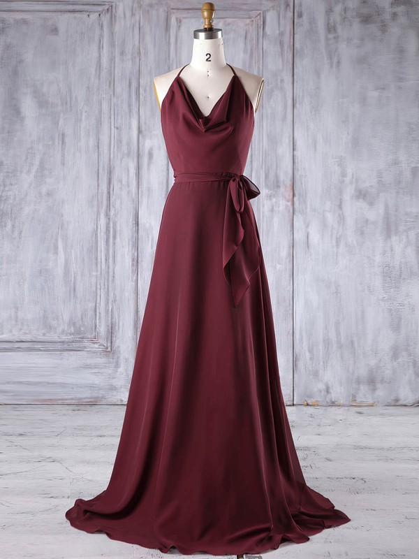 Chiffon Halter Sweep Train A-line with Sashes / Ribbons Bridesmaid Dresses #PWD01013185