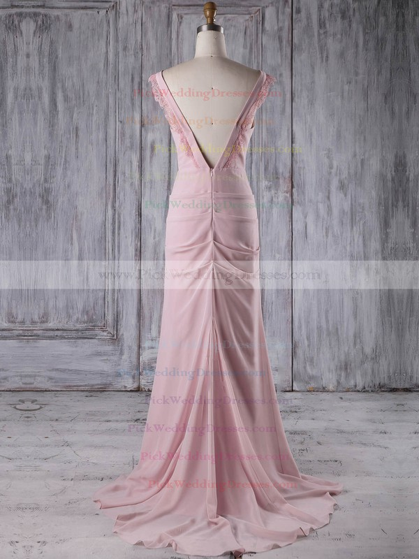 Chiffon V-neck Sweep Train Sheath/Column with Lace Bridesmaid Dresses #PWD01013187