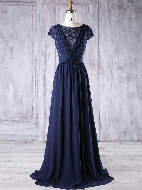 Lace|Chiffon Scoop Neck Floor-length A-line with Ruffles Bridesmaid Dresses #PWD01013188
