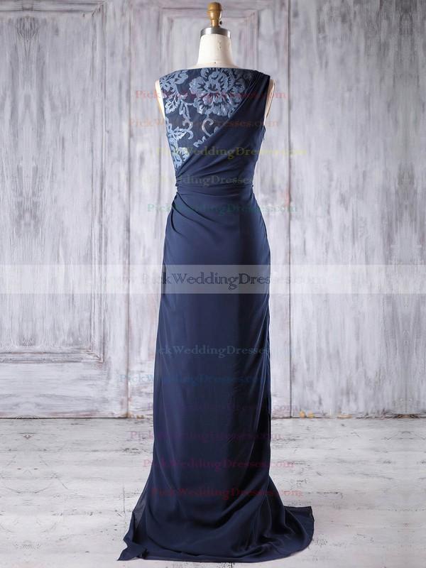 Chiffon Scoop Neck Sweep Train Sheath/Column with Split Front Bridesmaid Dresses #PWD01013189