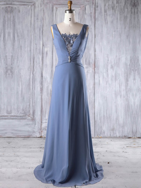 Lace|Chiffon Square Neckline Sweep Train A-line with Beading Bridesmaid Dresses #PWD01013191