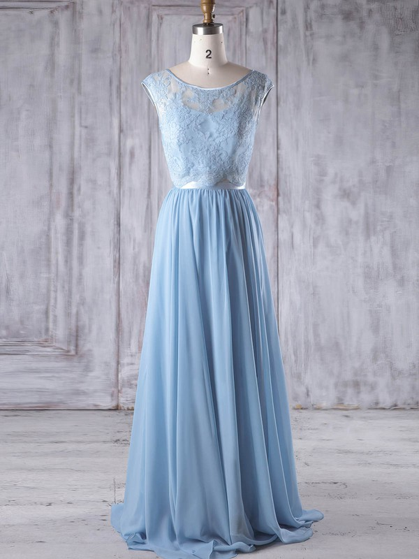 Chiffon|Tulle Scoop Neck Sweep Train A-line with Sashes / Ribbons Bridesmaid Dresses #PWD01013192