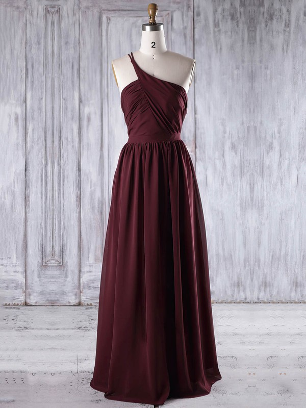 Chiffon One Shoulder Floor-length A-line with Ruffles Bridesmaid Dresses #PWD01013195