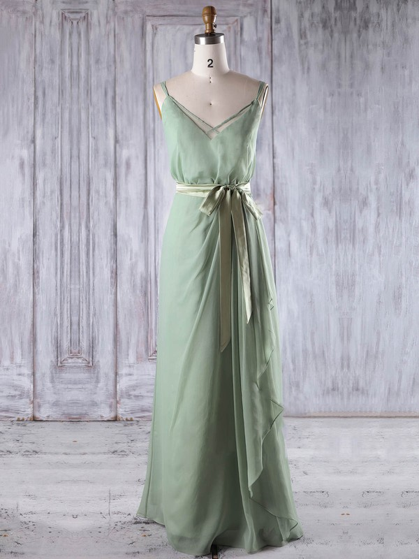 Chiffon V-neck Floor-length A-line with Sashes / Ribbons Bridesmaid Dresses #PWD01013197