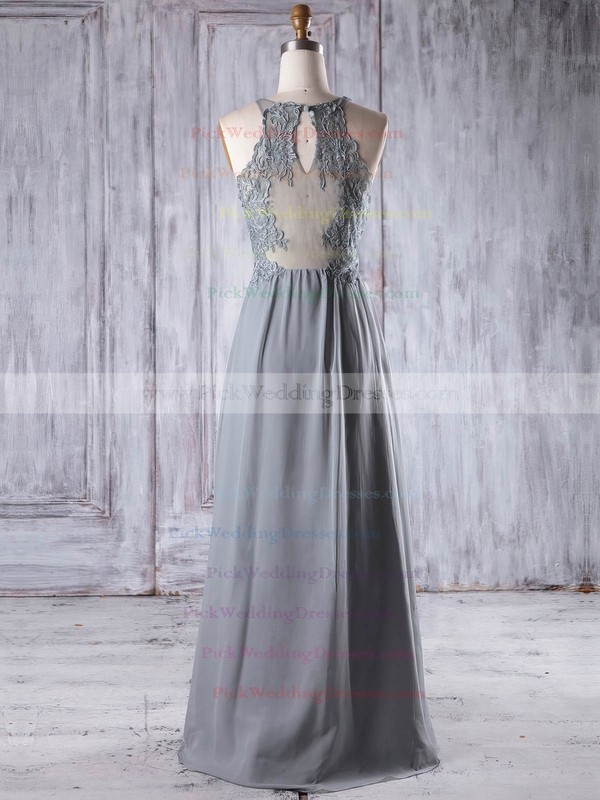 Chiffon|Tulle V-neck Floor-length A-line with Appliques Lace Bridesmaid Dresses #PWD01013198