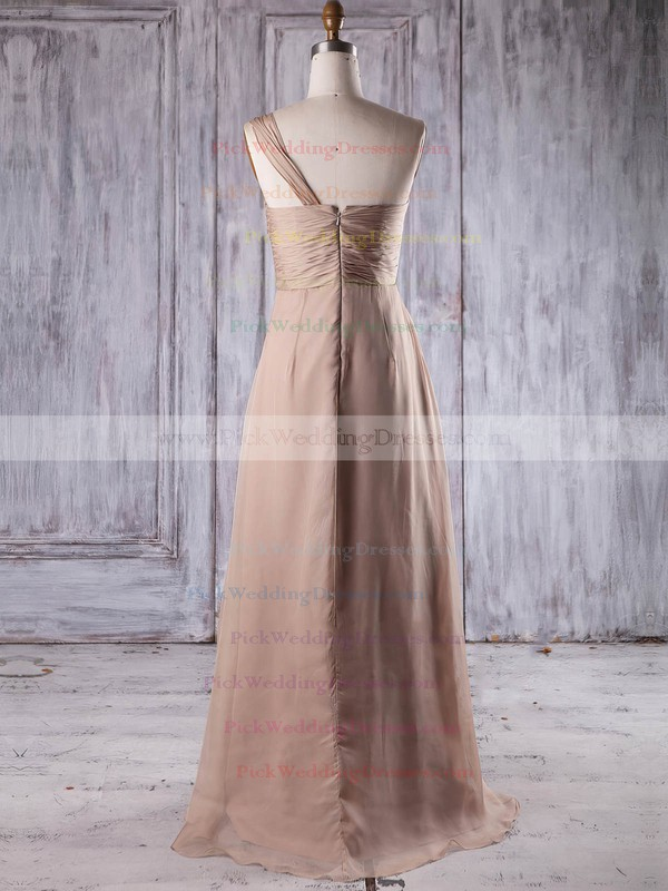 Chiffon One Shoulder Floor-length A-line with Ruffles Bridesmaid Dresses #PWD01013199