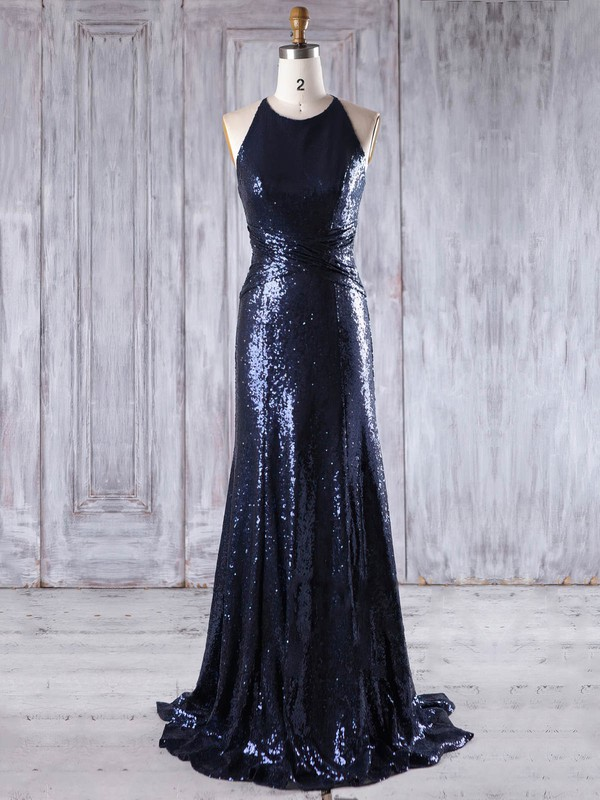 Sequined Scoop Neck Sweep Train Sheath/Column with Ruffles Bridesmaid Dresses #PWD01013201
