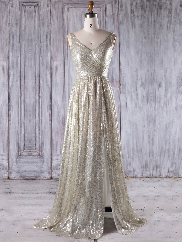 Sequined V-neck Sweep Train A-line with Split Front Bridesmaid Dresses #PWD01013202