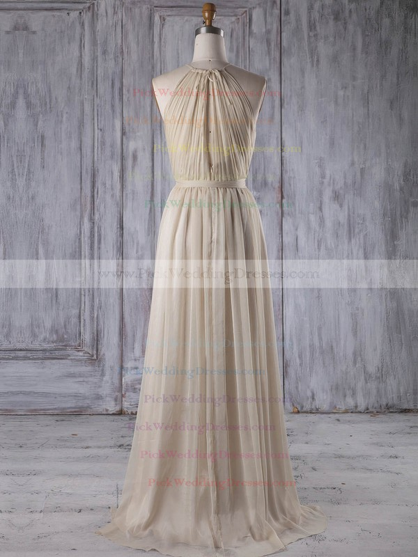 Chiffon Scoop Neck Asymmetrical A-line with Sashes / Ribbons Bridesmaid Dresses #PWD01013205