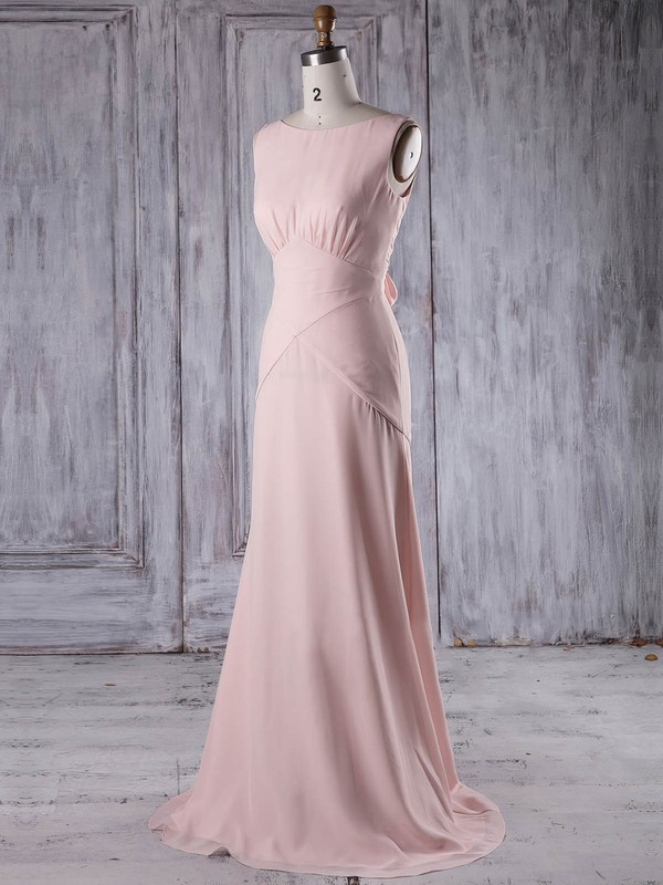 Chiffon Scoop Neck Sweep Train Sheath/Column with Ruffles Bridesmaid Dresses #PWD01013206