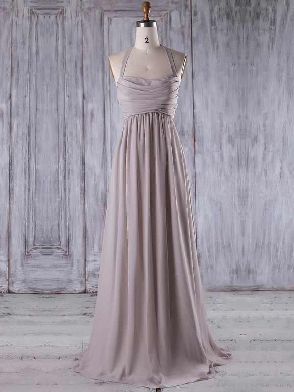 Chiffon Halter Floor-length Empire with Ruffles Bridesmaid Dresses #PWD01013207