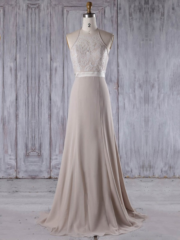 Lace|Chiffon Halter Sweep Train A-line with Sashes / Ribbons Bridesmaid Dresses #PWD01013208
