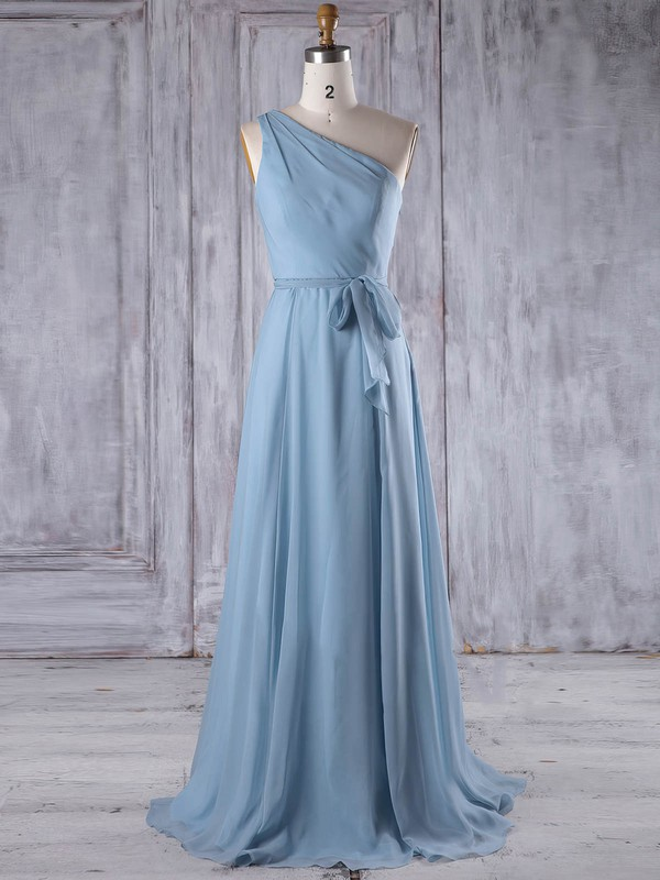 Chiffon One Shoulder Floor-length A-line with Sashes / Ribbons Bridesmaid Dresses #PWD01013209
