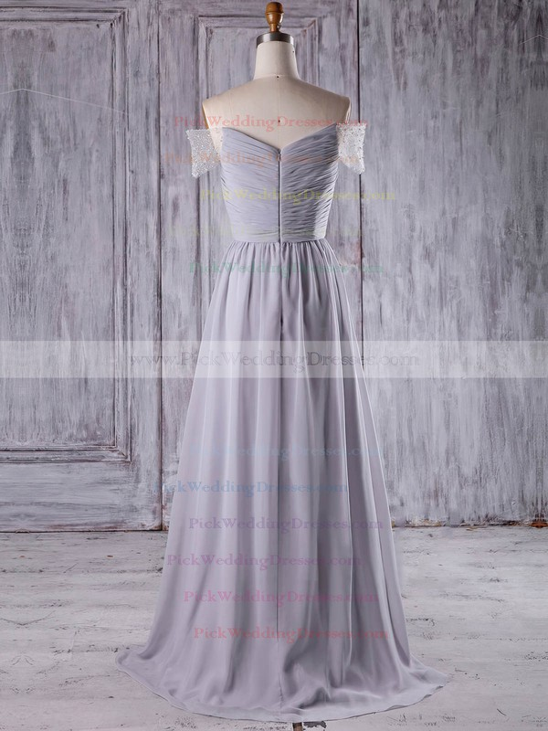 Chiffon Tulle Off-the-shoulder Sweep Train A-line with Beading Bridesmaid Dresses #PWD01013211