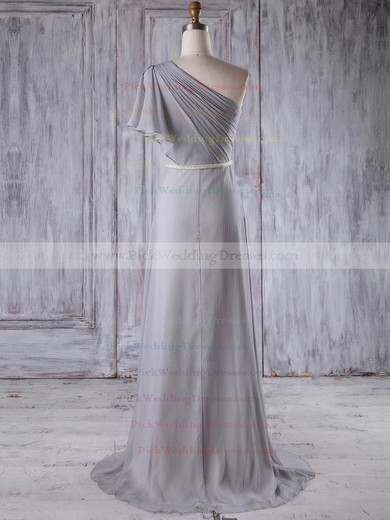 Chiffon One Shoulder Sweep Train A-line with Sashes / Ribbons Bridesmaid Dresses #PWD01013212