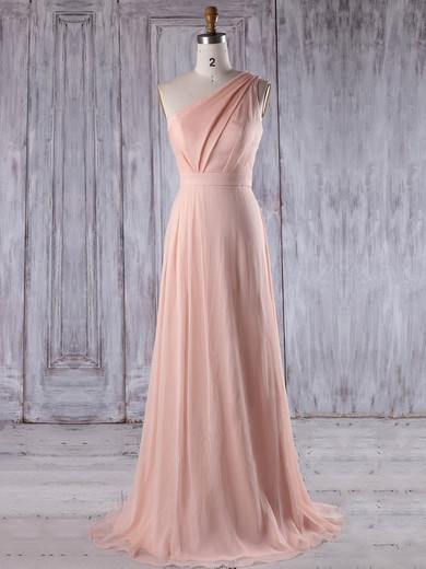Chiffon One Shoulder Sweep Train A-line with Ruffles Bridesmaid Dresses #PWD01013215