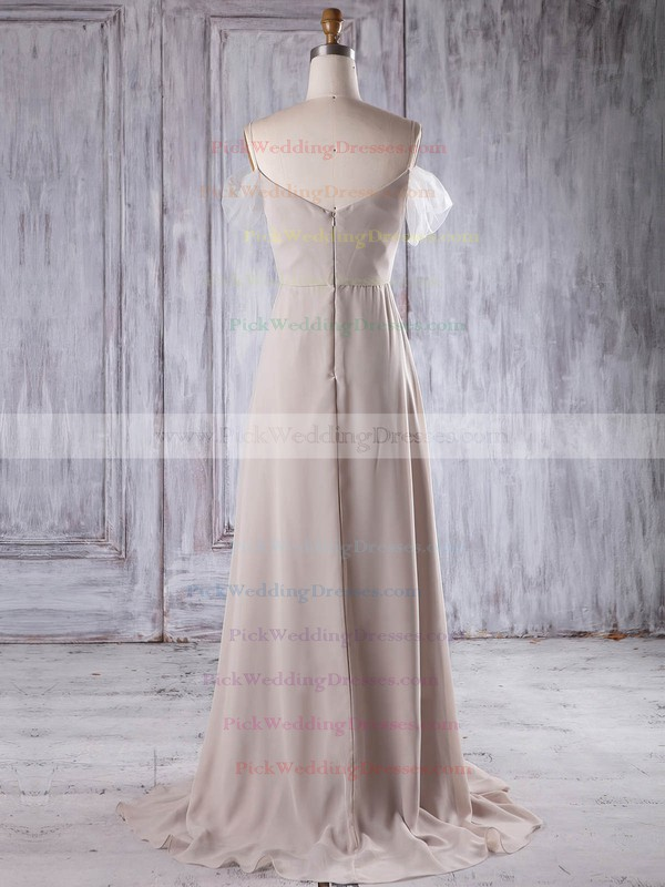 Tulle Chiffon Off-the-shoulder Sweep Train A-line with Appliques Lace Bridesmaid Dresses #PWD01013216