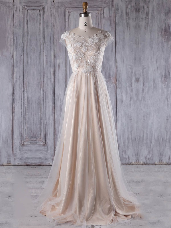 Tulle Scoop Neck Sweep Train A-line with Appliques Lace Bridesmaid Dresses #PWD01013217