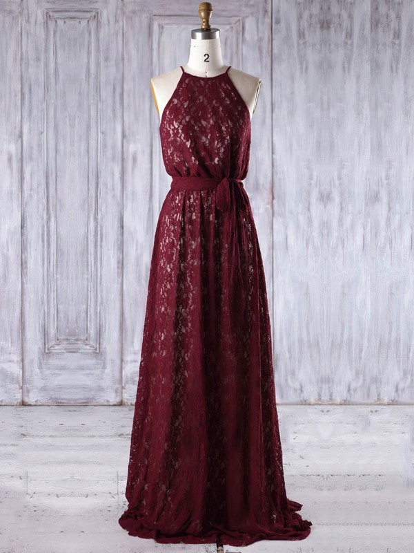 Lace Scoop Neck Floor-length A-line with Sashes / Ribbons Bridesmaid Dresses #PWD01013219