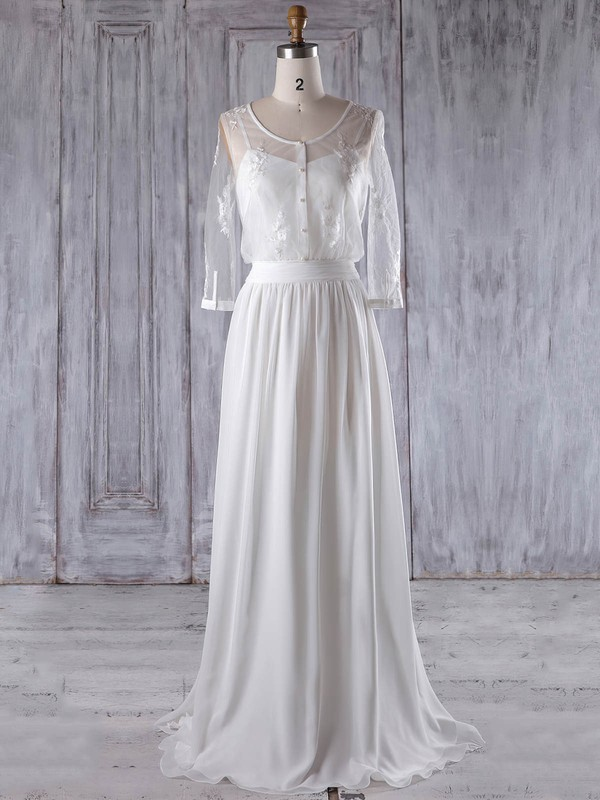 Chiffon|Tulle Scoop Neck Floor-length A-line with Appliques Lace Bridesmaid Dresses #PWD01013222