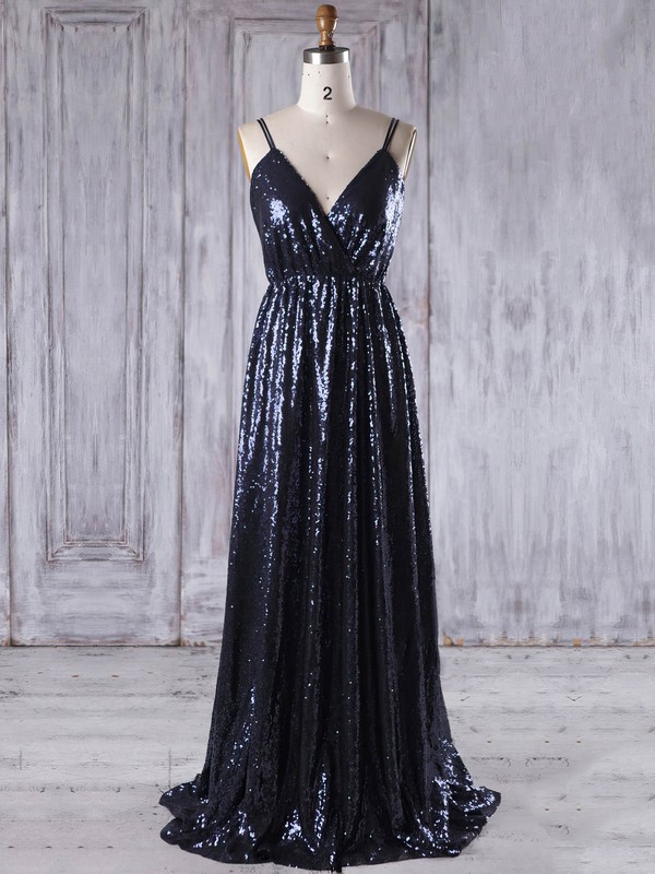 Sequined V-neck Sweep Train A-line with Embroidered Bridesmaid Dresses #PWD01013223
