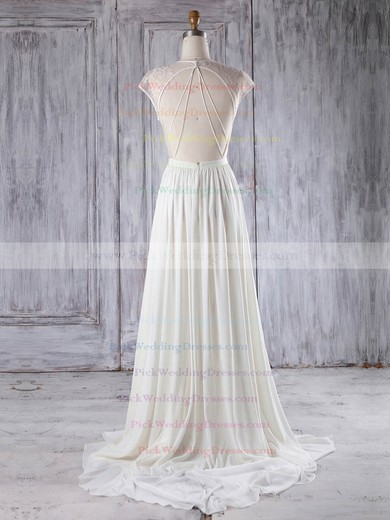 Chiffon|Tulle Scoop Neck Sweep Train A-line with Appliques Lace Bridesmaid Dresses #PWD01013224