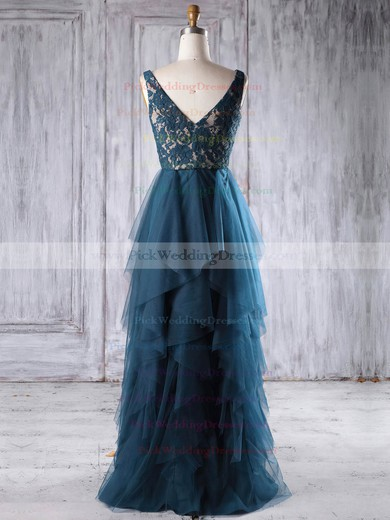 Lace|Tulle V-neck Floor-length A-line with Tiered Bridesmaid Dresses #PWD01013225