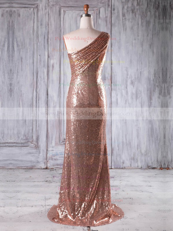 Sequined One Shoulder Sweep Train Sheath/Column with Split Front Bridesmaid Dresses #PWD01013226