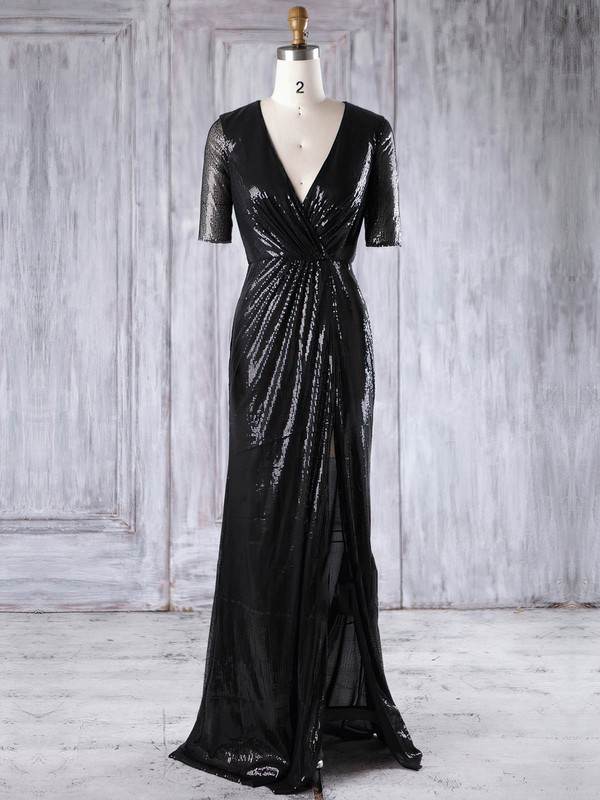 Sequined V-neck Sweep Train Sheath/Column with Split Front Bridesmaid Dresses #PWD01013227
