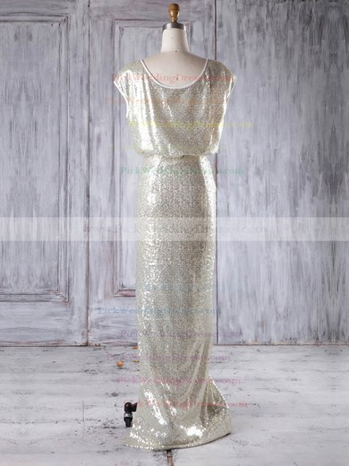Sequined Scoop Neck Floor-length Sheath/Column with Split Front Bridesmaid Dresses #PWD01013228