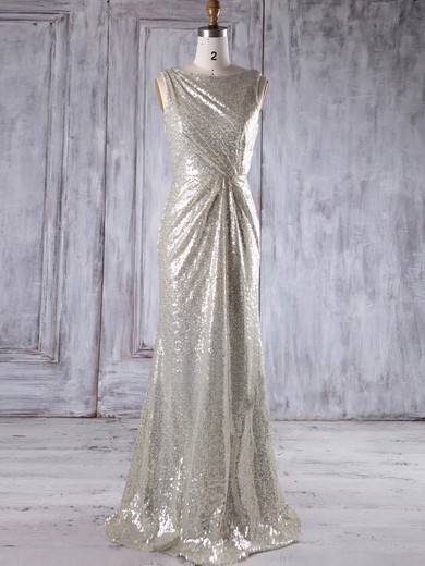Sequined Scoop Neck Floor-length Sheath/Column with Ruffles Bridesmaid Dresses #PWD01013230