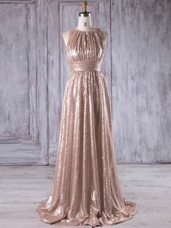 Sequined Scoop Neck Sweep Train A-line with Ruffles Bridesmaid Dresses #PWD01013231